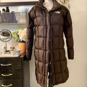 The North Face chocolate brown puffer coat